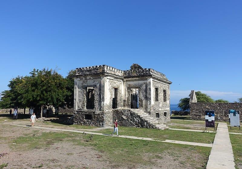 Timor-Leste: Ruins, Rock, Flora, Plant, Tree, Grass, Building, Architecture